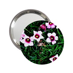 Pink Flowers Over A Green Grass 2 25  Handbag Mirrors