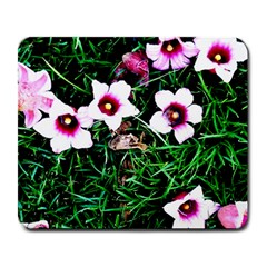 Pink Flowers Over A Green Grass Large Mousepads