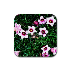 Pink Flowers Over A Green Grass Rubber Square Coaster (4 Pack)  by DanaeStudio