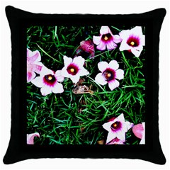 Pink Flowers Over A Green Grass Throw Pillow Case (black)