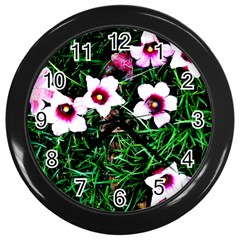 Pink Flowers Over A Green Grass Wall Clocks (black)