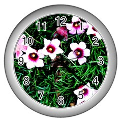 Pink Flowers Over A Green Grass Wall Clocks (silver)