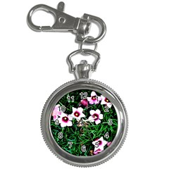 Pink Flowers Over A Green Grass Key Chain Watches
