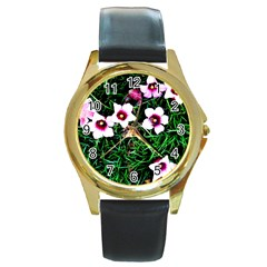 Pink Flowers Over A Green Grass Round Gold Metal Watch