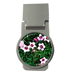 Pink Flowers Over A Green Grass Money Clips (round)  by DanaeStudio