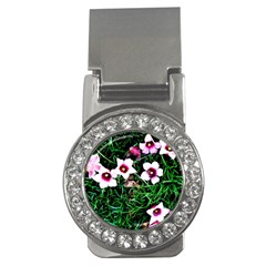 Pink Flowers Over A Green Grass Money Clips (cz)