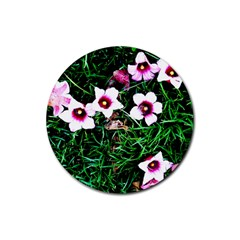 Pink Flowers Over A Green Grass Rubber Round Coaster (4 Pack)