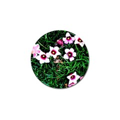 Pink Flowers Over A Green Grass Golf Ball Marker (4 Pack)
