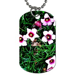 Pink Flowers Over A Green Grass Dog Tag (two Sides)