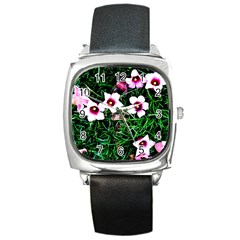 Pink Flowers Over A Green Grass Square Metal Watch