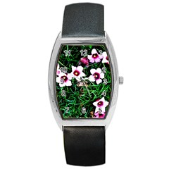 Pink Flowers Over A Green Grass Barrel Style Metal Watch