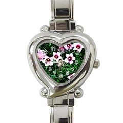 Pink Flowers Over A Green Grass Heart Italian Charm Watch