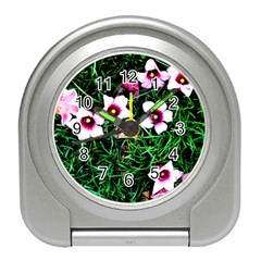 Pink Flowers Over A Green Grass Travel Alarm Clocks