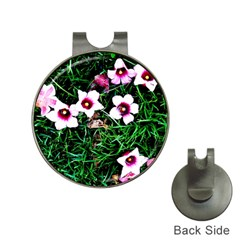 Pink Flowers Over A Green Grass Hat Clips With Golf Markers