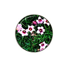 Pink Flowers Over A Green Grass Hat Clip Ball Marker (4 Pack)