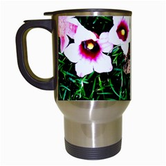 Pink Flowers Over A Green Grass Travel Mugs (white)