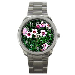 Pink Flowers Over A Green Grass Sport Metal Watch