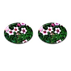 Pink Flowers Over A Green Grass Cufflinks (oval)