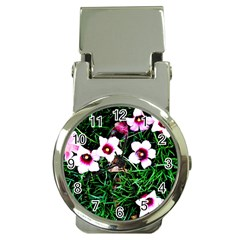 Pink Flowers Over A Green Grass Money Clip Watches