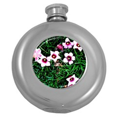 Pink Flowers Over A Green Grass Round Hip Flask (5 Oz)