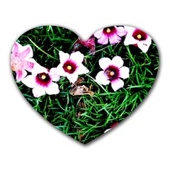 Pink Flowers Over A Green Grass Heart Mousepads by DanaeStudio
