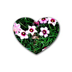 Pink Flowers Over A Green Grass Rubber Coaster (heart)