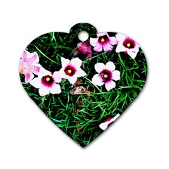 Pink Flowers Over A Green Grass Dog Tag Heart (two Sides)