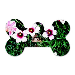 Pink Flowers Over A Green Grass Dog Tag Bone (one Side)