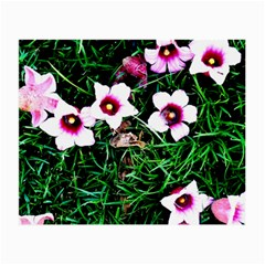 Pink Flowers Over A Green Grass Small Glasses Cloth (2 Side)
