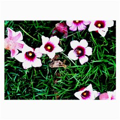 Pink Flowers Over A Green Grass Large Glasses Cloth (2 Side)