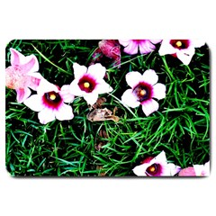 Pink Flowers Over A Green Grass Large Doormat