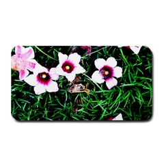 Pink Flowers Over A Green Grass Medium Bar Mats