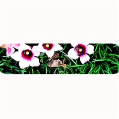 Pink Flowers Over A Green Grass Large Bar Mats