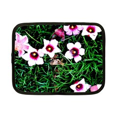 Pink Flowers Over A Green Grass Netbook Case (small)  by DanaeStudio