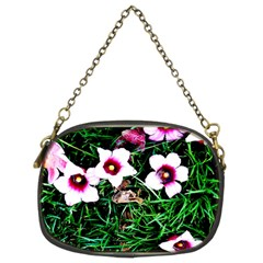 Pink Flowers Over A Green Grass Chain Purses (two Sides)