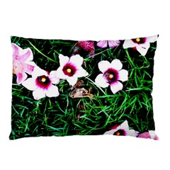 Pink Flowers Over A Green Grass Pillow Case