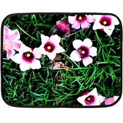 Pink Flowers Over A Green Grass Fleece Blanket (mini)