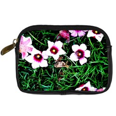 Pink Flowers Over A Green Grass Digital Camera Cases