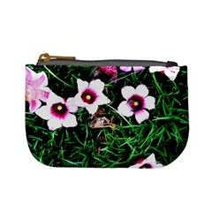 Pink Flowers Over A Green Grass Mini Coin Purses
