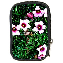 Pink Flowers Over A Green Grass Compact Camera Cases