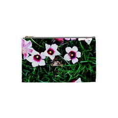 Pink Flowers Over A Green Grass Cosmetic Bag (small)  by DanaeStudio