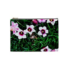 Pink Flowers Over A Green Grass Cosmetic Bag (medium)