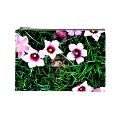 Pink Flowers Over A Green Grass Cosmetic Bag (large)