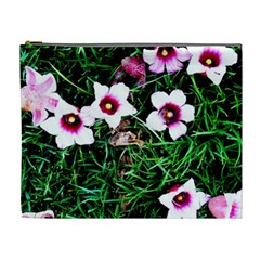 Pink Flowers Over A Green Grass Cosmetic Bag (xl)