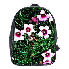 Pink Flowers Over A Green Grass School Bags(large)  by DanaeStudio