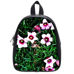 Pink Flowers Over A Green Grass School Bags (small)