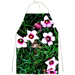 Pink Flowers Over A Green Grass Full Print Aprons