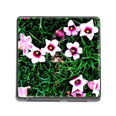 Pink Flowers Over A Green Grass Memory Card Reader (square)