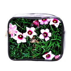 Pink Flowers Over A Green Grass Mini Toiletries Bags