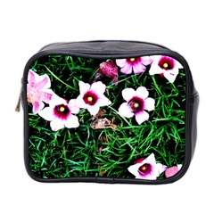 Pink Flowers Over A Green Grass Mini Toiletries Bag 2 Side
